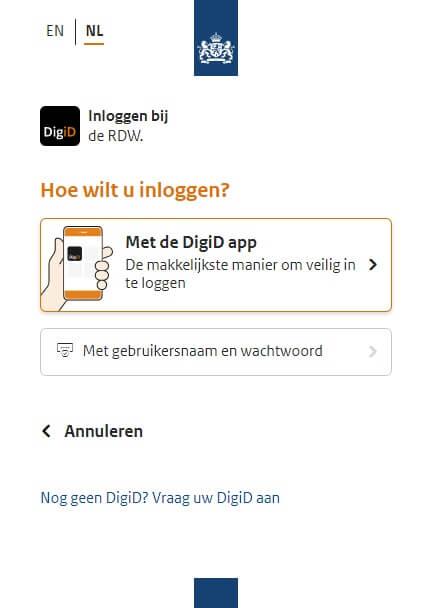 Inloggen met DigiD